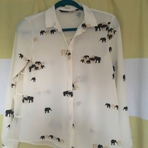 Zara elephant print button down
